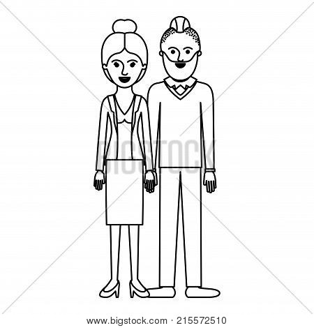 couple monochrome silhouette and her with blouse and jacket and skirt and heel shoes with collected hair and him with beard and sweater and pants and shoes with taper fade haircut vector illustration