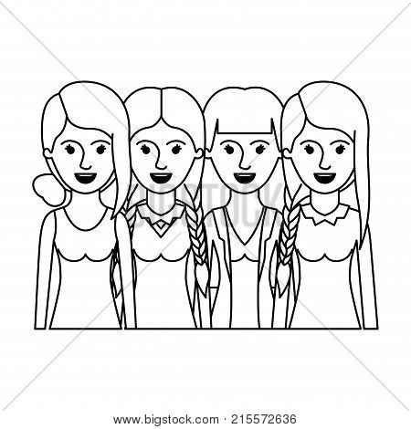 women in half body with casual clothes and hairstyle braided fringe collected and straight in monochrome silhouette vector illustration