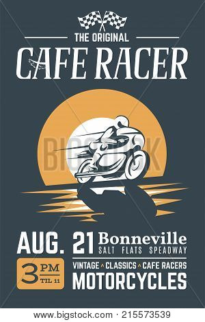 Classic Cafe Racer Motorcycle For Printing With Grunge Texture Vector Old School Bonneville Race Poster