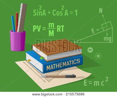 Physics and mathematics classes isolated vector illustration on green. Cartoon style textbooks, various stationery items along with formulas