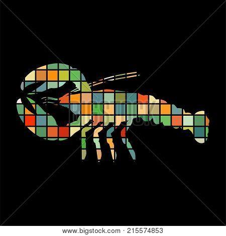 Crayfish mosaic color silhouette aquatic animal background black. Vector Illustrator