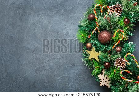 Advent Christmas Door Wreath With Festive Decoration