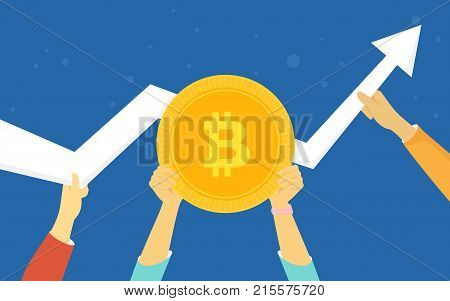 Bitcoin golden symbol concept vector illustration of huge growth on cryptocurrency markets. Flat human hands hold gold coin and other hold big white arrow going up on blue background