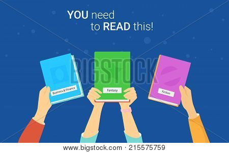 You need to read this book concept vector illustration of young people reading books for distance studying and education. Flat human hands hold the books and recommend reading for self education