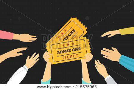 Tickets concept vector illustration of people ordering and purchasing admission to event. Flat human hands hold two yellow tickets and other try to take it on black background