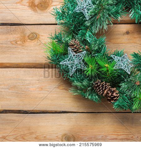 Advent Christmas Wooden Door Wreath With Festive Decoration