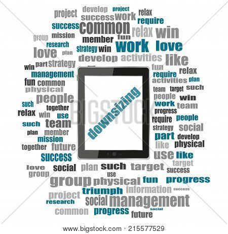 Text Downsizing. Business Concept . Tablet Pc With Word Cloud Collage