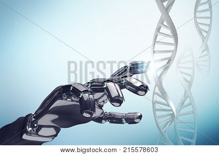 Robotic hand touches dna chain over blue background. Futuristic concept.