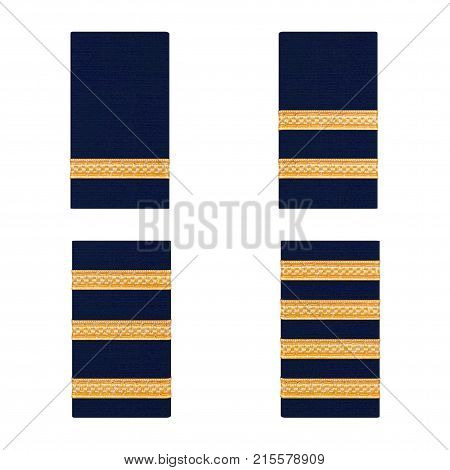 Pilot Golden Bars Epaulets from Student to Captain on a white background. 3d Rendering