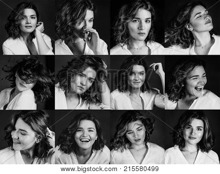 Monochrome portraites of young, beautiful  woman actress with short brown hair showing diggerent emotions: happiness, sadness, frustration, joy, success in the studio