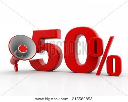 50% discount sale announcement with megaphone. discount concept on white background. 3d render