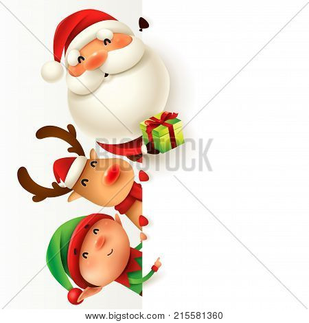 Santa Claus, Reindeer and Elf with blank signboard.