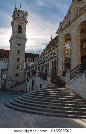 The Bell Tower Of Coimbra University In Portugal