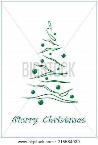 Merry Christmas, green elegant Christmas tree on a white background, vertical
