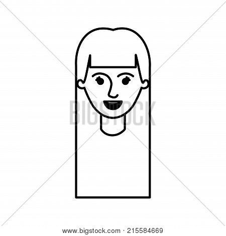 female face with long straight hair in monochrome silhouette vector illustration
