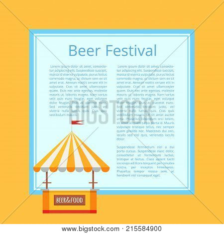 Beer festival poster, representing stall selling alcoholic drinks and snacks of different types vector illustration isolated on orange