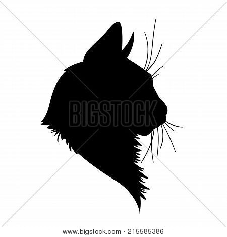 Cat head silhouette. Vector illustration in monochrome style on white background. Element for your design. Black shape  of pet muzzle. Fluffy fur. Stencil. Profile.