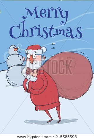 Christmas card of funny confused Santa Claus with big bag standing next to snowman in windy weather. Santa looks lost. Vertical vector illustration. Cartoon character. Lettering. Copy space.