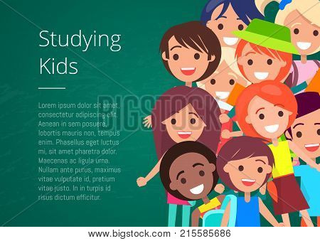Studying kids isolated vector illustration with inscription on green background with place for text. Joyful children during classes or on break