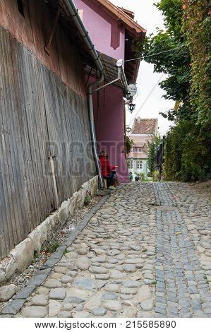 Sighisoara Romania October 08 2017 : Quiet street in the castle of old city. Sighisoara city in Romania