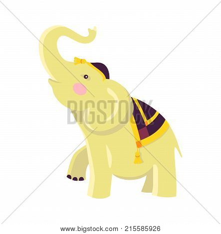 Indian elephant in hat and cloak of black and yellow colors raises trunk and one leg isolated vector illustration on white background.