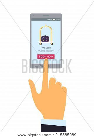Wide grey mobile phone and right hand isolated vector illustration. Online advertisement of five star hotel depicting suitcase on luggage cart