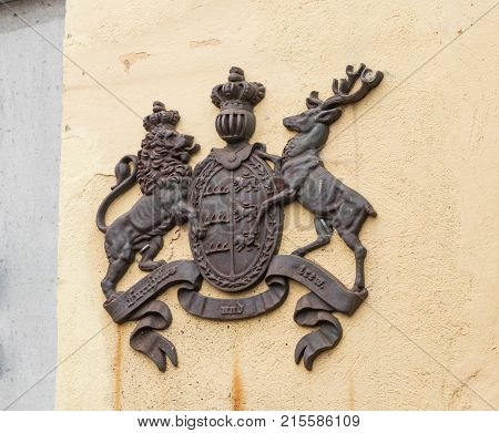 Sighisoara Romania October 08 2017 : Coat of arms on the wall of cafe La Scara (On The Ladder). Sighisoara city in Romania