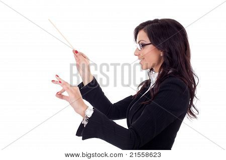 Business Woman Conducting Her Business
