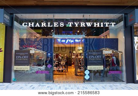 Bracknell, England - Nov 25, 2017: Exterior of the Charles Tyrwhitt store with people inside in the town of Bracknell, England. Charles Tyrwhitt is a British clothing retail company providing menswear via a chain of stores in the UK