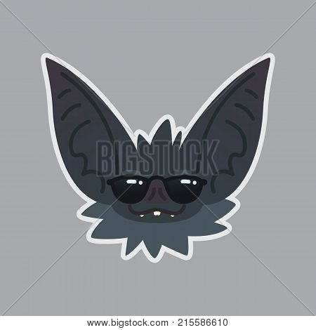Bat in sunglasses sticker. Emoji. Vector illustration of cute Halloween bat vampire shows cool emotion. Emoticon icon with sublayer. Bat-eared grey creature's snout. Print design. Badge.