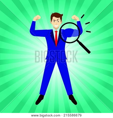 Business Concept As A Magnifying Glass Enlarges Arm Of Businessman Being Muscular. It Means Revealing True Strength Of Self Performance For Entrepreneurship Management Leadership And Achievement.