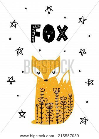 Colorful childish vector card. Lettering with illustration in Scandinavian style. Creative poster with fox and phrase.