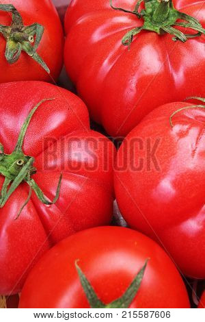 Tomato texture. Fresh big red tomatoes closeup background photo. Pile of tomatoes. Tomato pattern with studio lights. Big red vegetables.