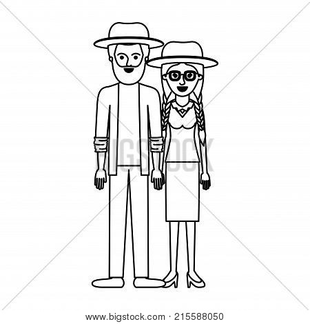 couple monochrome silhouette and both with hat and him with beard and shirt and jacket and pants and shoes and her with glasses blouse and skirt and heel shoes with braided hair vector illustration