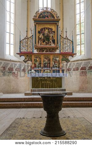 Sighisoara Romania October 08 2017 : Interior of Church of the Deal (St. Nicholas) in the castle in Old City. Sighisoara city in Romania
