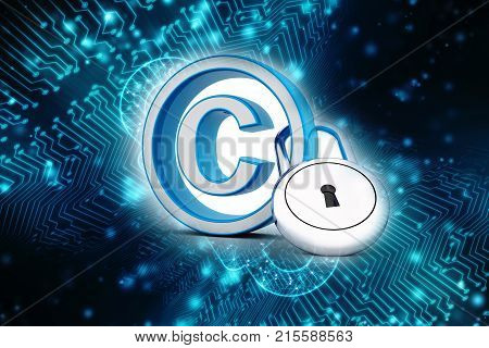 3d illustration copyright symbol concept, Copyright symbol with lock