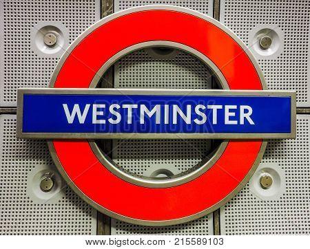 Westminster Tube Station Roundel In London (hdr)