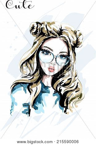 Hand drawn beautiful young woman in sunglasses. Cute girl with stylish hairstyle. Fashion woman. Sketch.