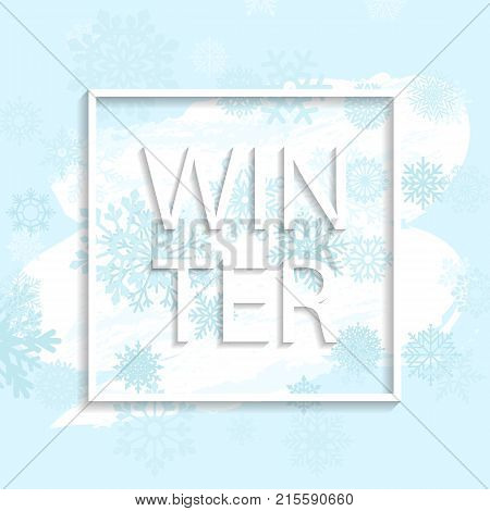 winter frame with snowflakes on blue and white bacground