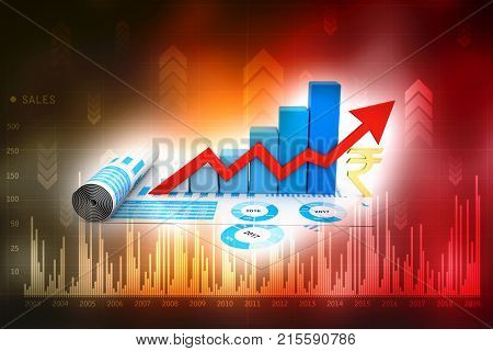 Business graph with Rupee sign. Indian Rupee growth concept. 3d rendering