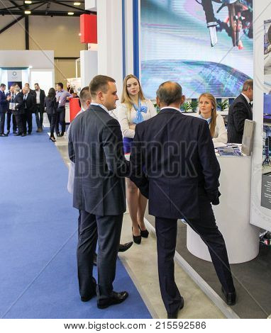 St. Petersburg, Russia - 3 October, A group of people on the forum, 3 October, 2017. Participants and visitors of the annual St. Petersburg Gas Forum.