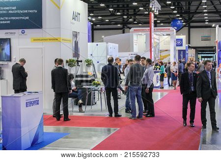 St. Petersburg, Russia - 3 October, Groups of visitors to the forum, 3 October, 2017. Participants and visitors of the annual St. Petersburg Gas Forum.