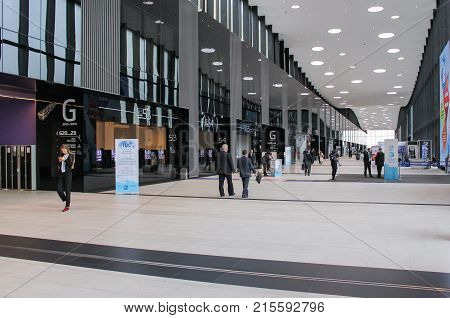 St. Petersburg, Russia - 3 October, Modern Hall Expo Forum, 3 October, 2017. Expo Forum venue of the St. Petersburg Gas Forum.