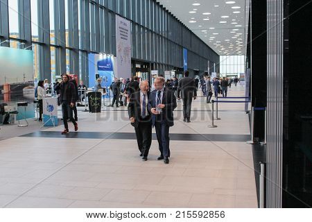 St. Petersburg, Russia - 3 October, Groups of people in the hall of the Expo Forum, 3 October, 2017. Expo Forum venue of the St. Petersburg Gas Forum.