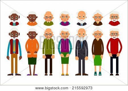 Set Of Diverse Elderly People With Avatars Isolated On White Background