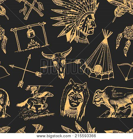 indian or native american. seamless pattern. buffalo, axes and tent, arrows and bow, skull, Dreamcatcher and cherokee, tomahawk. set of engraved vintage, hand drawn, old, labels or badges
