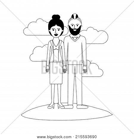 couple scene outdoor and her with blouse and jacket and skirt and heel shoes with collected hair and him with beard and sweater and pants and shoes with taper fade haircut in black dotted silhouette vector illustration