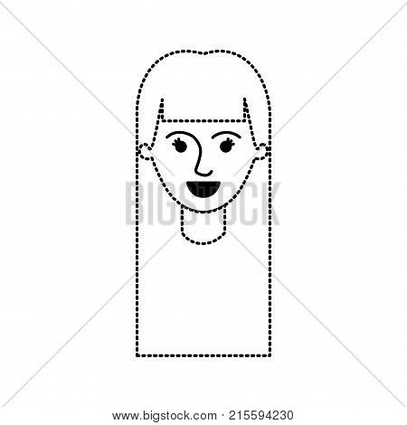 female face with long straight hair in black dotted silhouette vector illustration