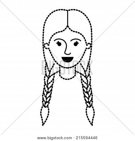 female face with braided hair in black dotted silhouette vector illustration