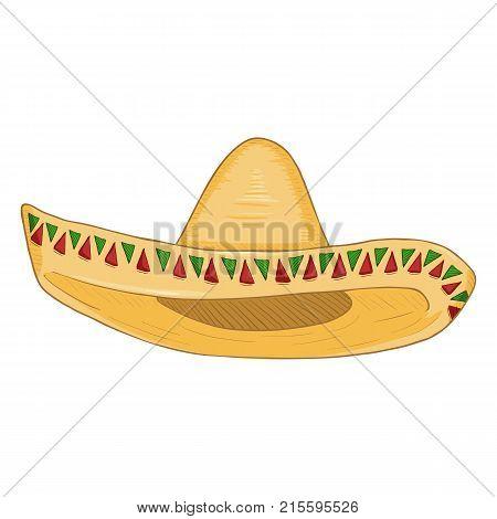Vector Cartoon Traditional Mexican Hat.
